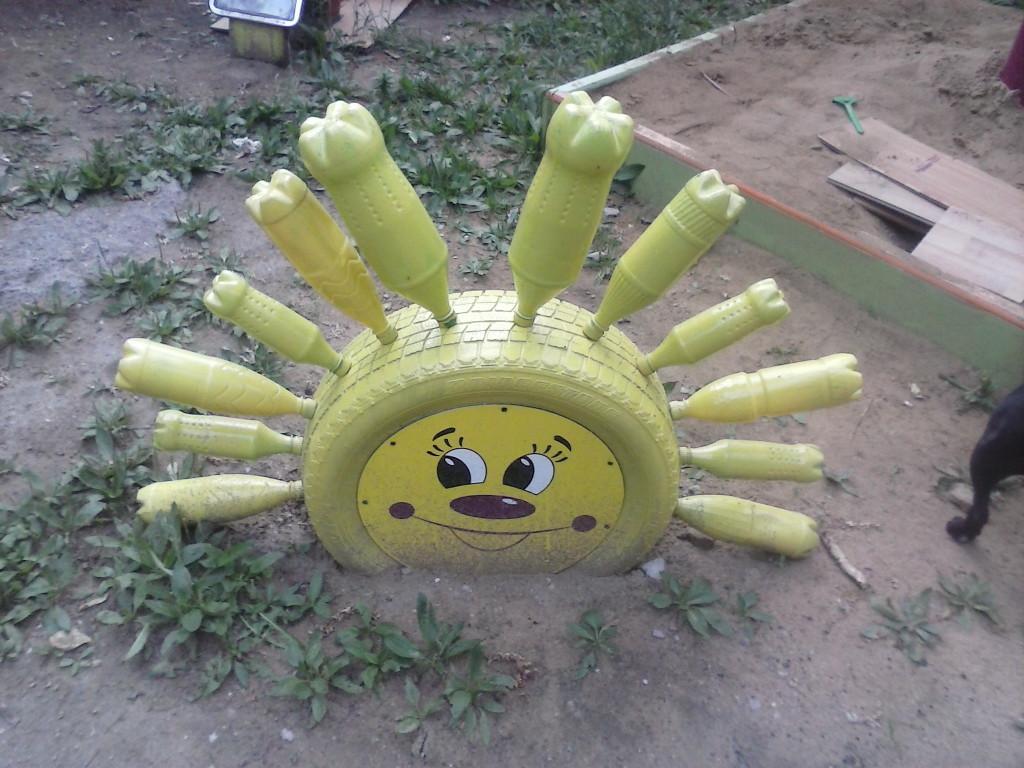 Поделки солнышко своими руками из шин
